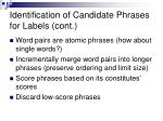 identification of candidate phrases for labels cont