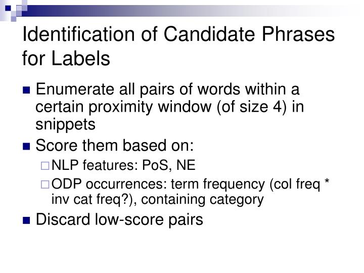 Identification of Candidate Phrases for Labels