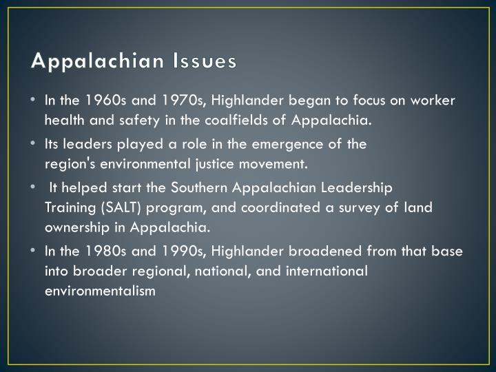 Appalachian Issues