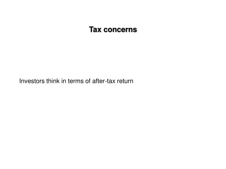 Tax concerns