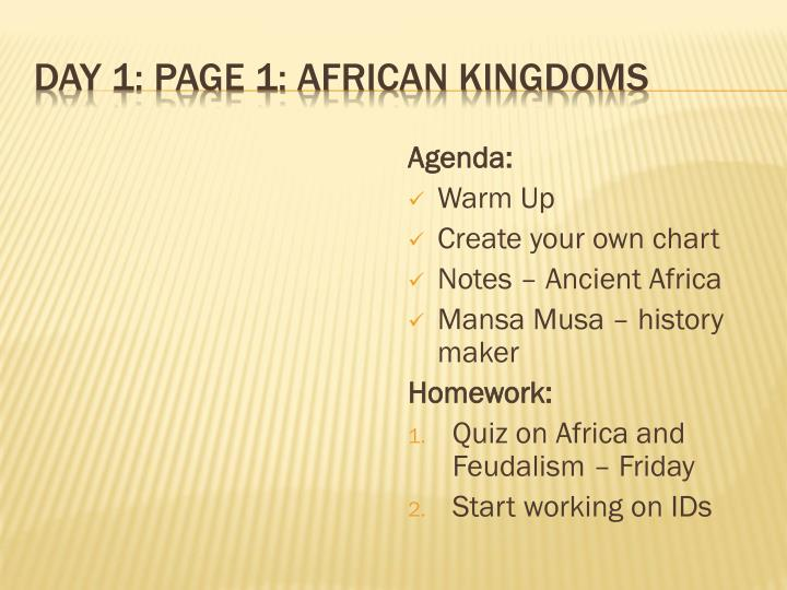 Day 1 page 1 african kingdoms