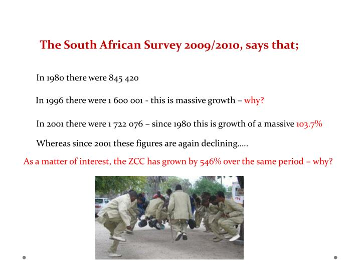 The South African Survey 2009/2010, says that;