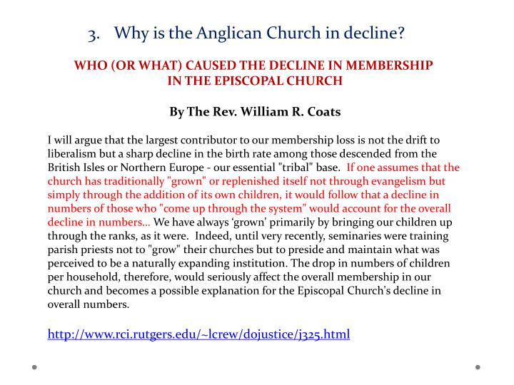 Why is the Anglican Church in decline?
