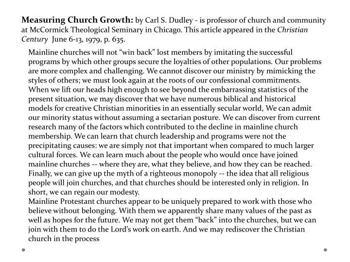 Measuring Church Growth:
