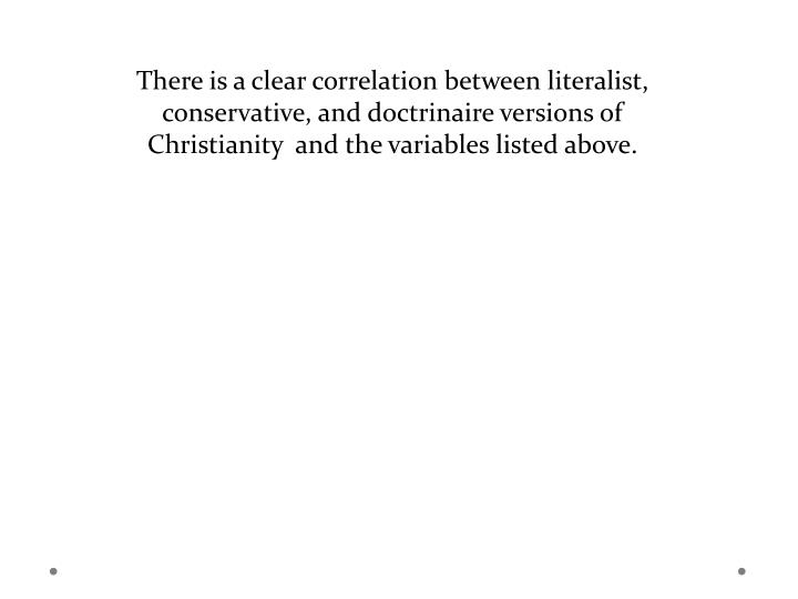 There is a clear correlation between literalist, conservative, and doctrinaire versions of Christianity  and the variables listed above.