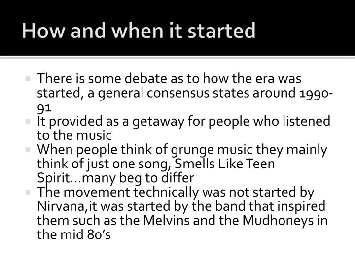 How and when it started