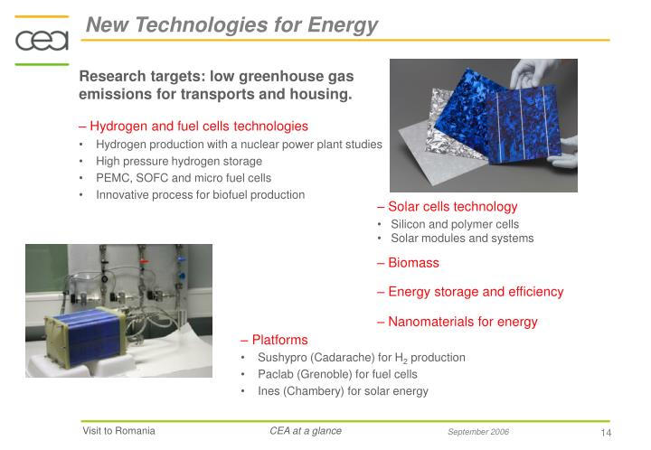 New Technologies for Energy