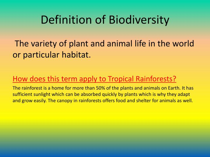 Definition of Biodiversity