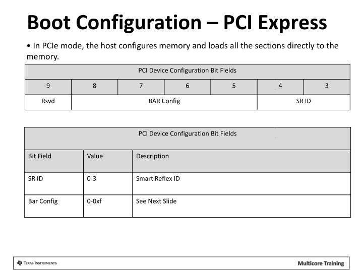 Boot Configuration – PCI Express