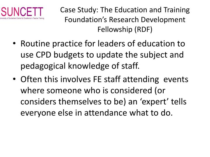 Case Study: The Education and Training Foundation's Research Development Fellowship (RDF)