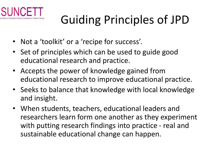 Guiding Principles of JPD