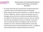 internal goods of vocational educational research and practice and desired outcomes