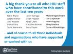 a big thank you to all who hiu staff who have contributed to this work over the last ten years