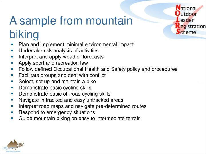 A sample from mountain biking
