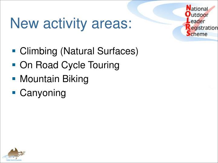 New activity areas: