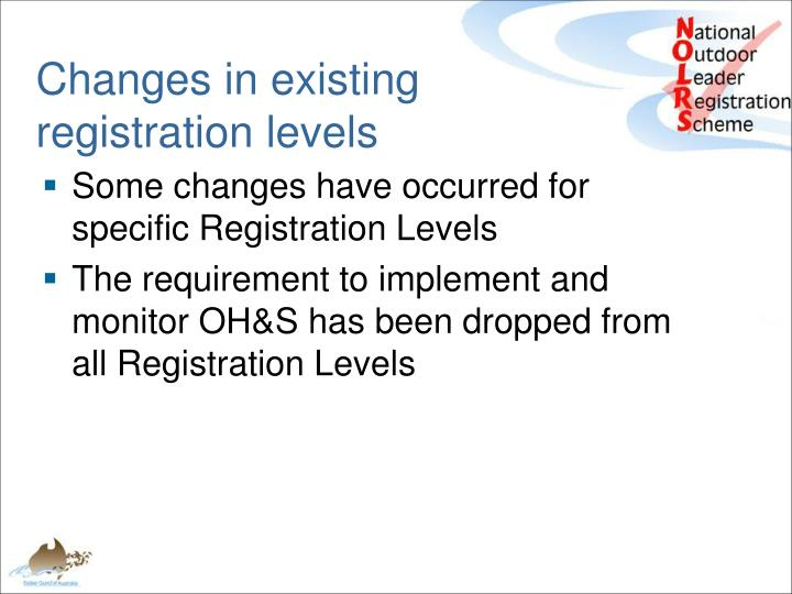 Changes in existing registration levels