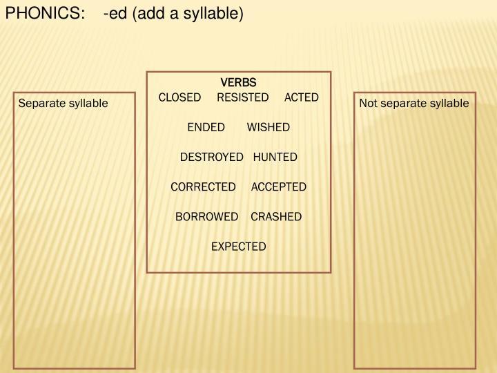 PHONICS:    -ed (add a syllable)