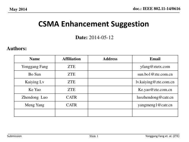 Csma enhancement suggestion