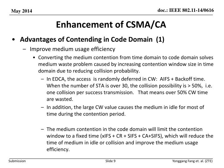 Enhancement of CSMA/CA