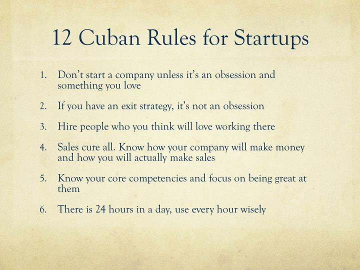 12 Cuban Rules for Startups