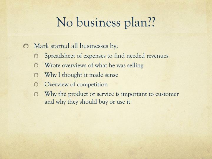 No business plan??