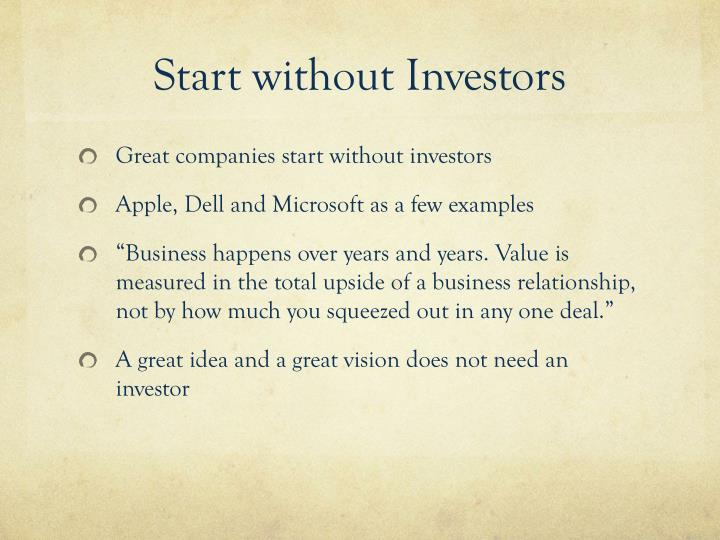 Start without Investors