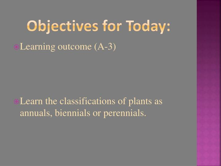 Objectives for Today: