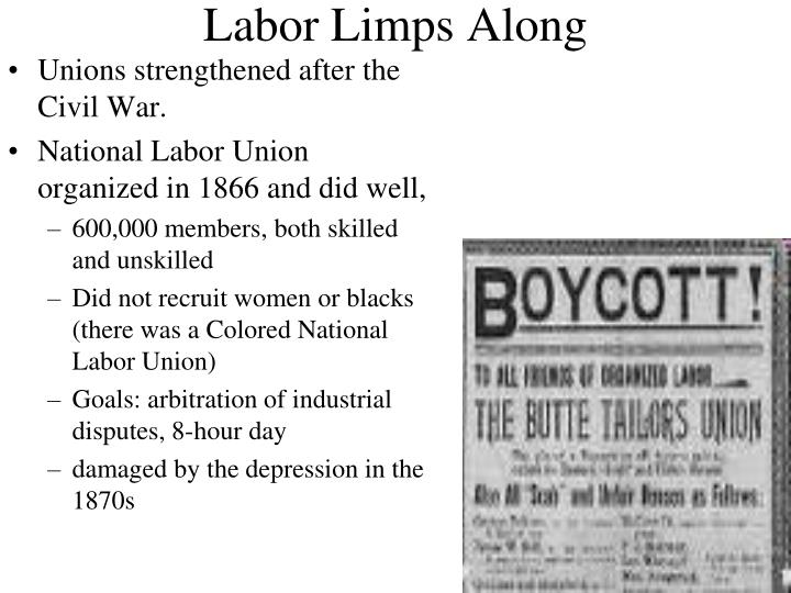 Unions strengthened after the Civil War.