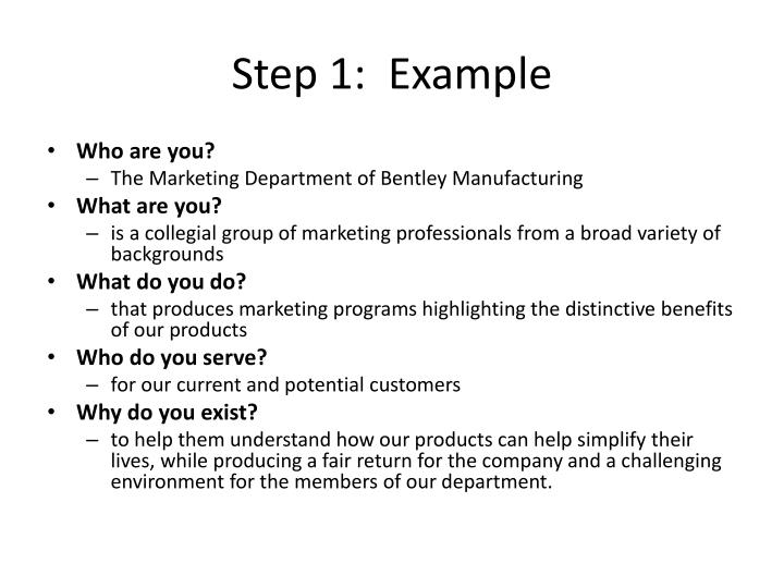 Step 1:  Example