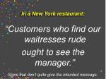in a new york restaurant