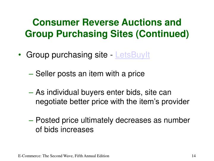 Consumer Reverse Auctions and Group Purchasing Sites (Continued)