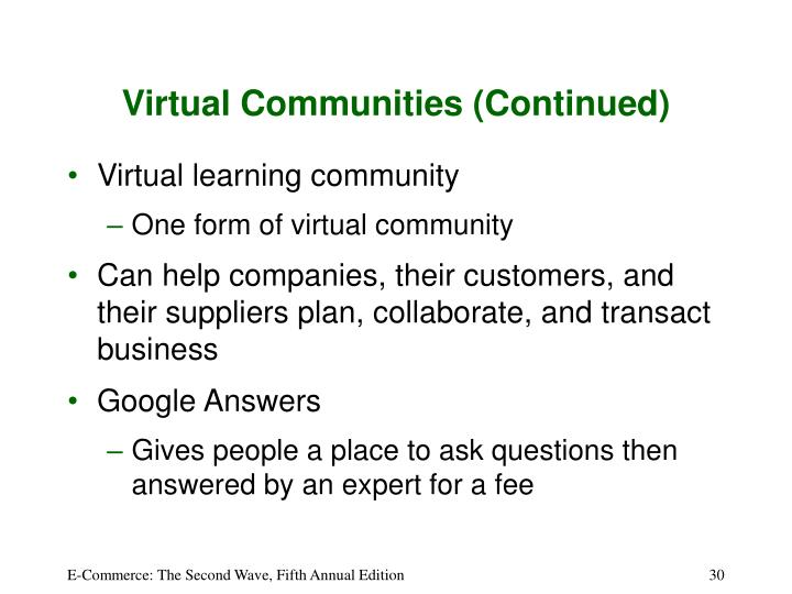 Virtual Communities (Continued)