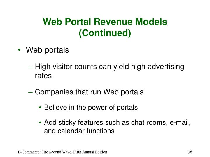 Web Portal Revenue Models (Continued)