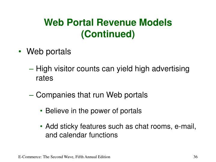 Web Portal Revenue Models (Continued)