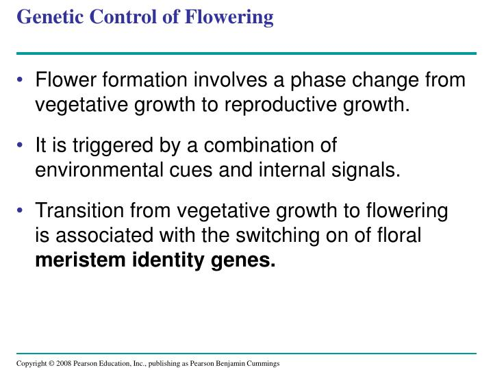 Genetic Control of Flowering
