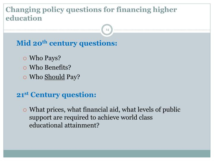 Changing policy questions for financing higher education