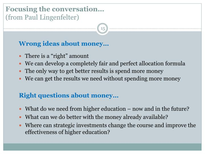 Focusing the conversation…