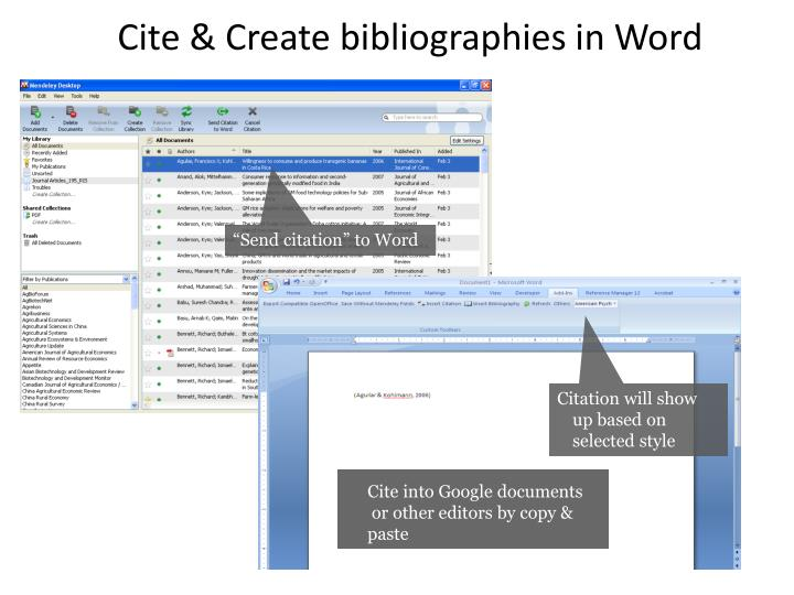 Cite & Create bibliographies in Word