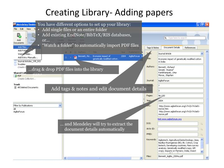Creating Library- Adding papers