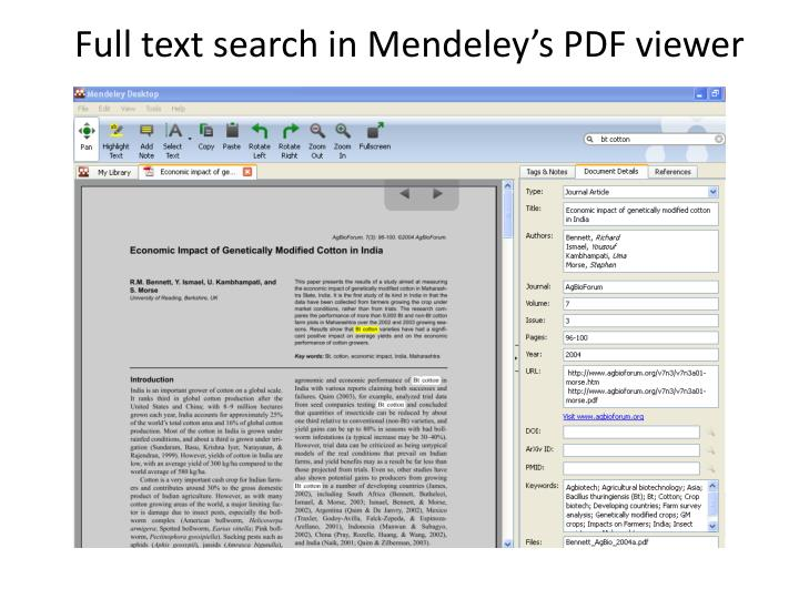 Full text search in