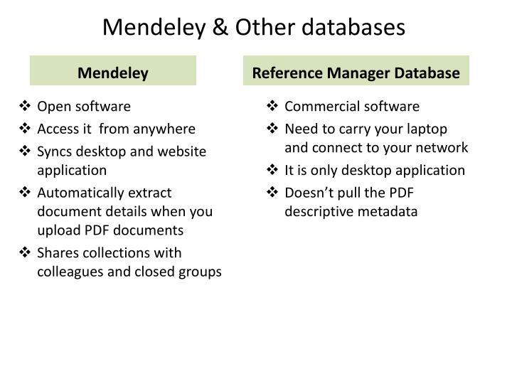 Mendeley & Other databases