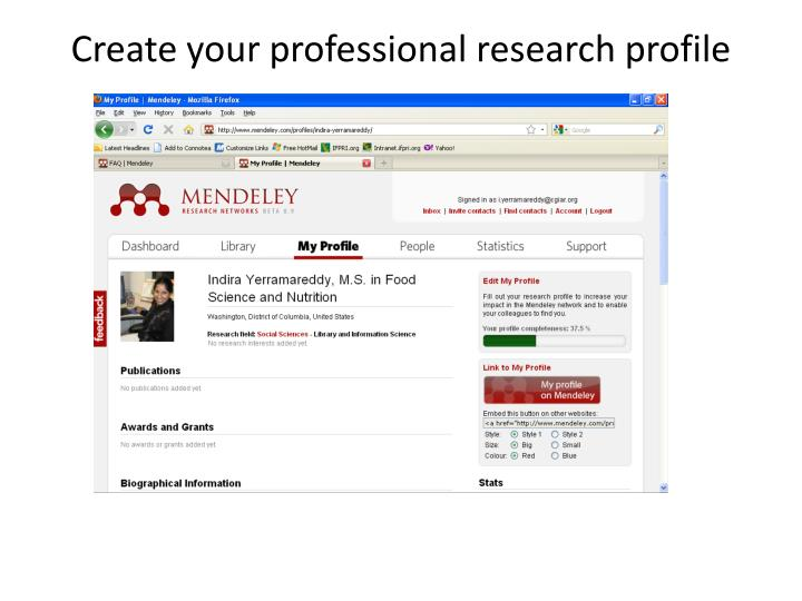 Create your professional research profile