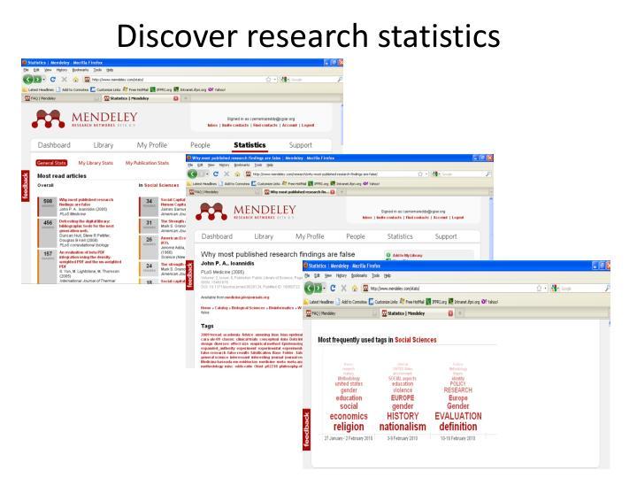 Discover research statistics