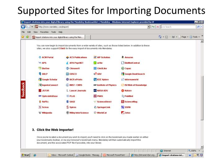 Supported Sites for Importing Documents