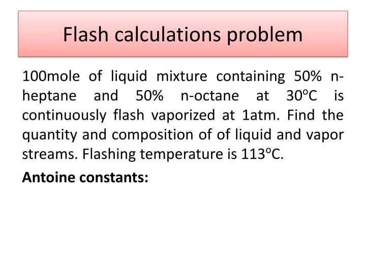 Flash calculations problem