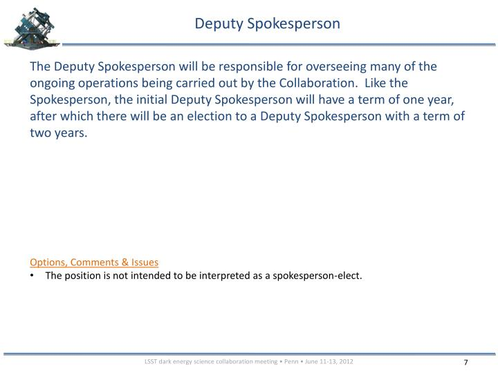 Deputy Spokesperson