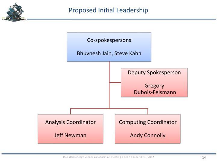 Proposed Initial Leadership
