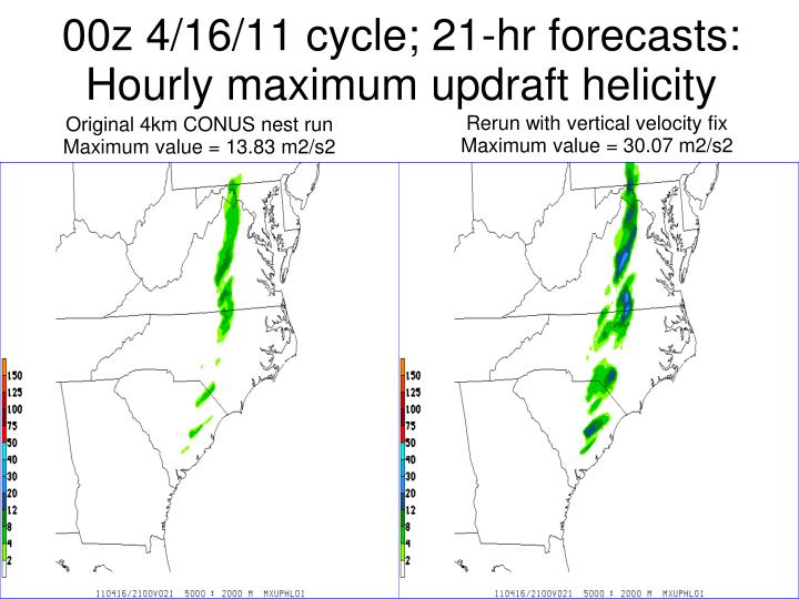 00z 4/16/11 cycle; 21-hr forecasts: Hourly maximum updraft helicity