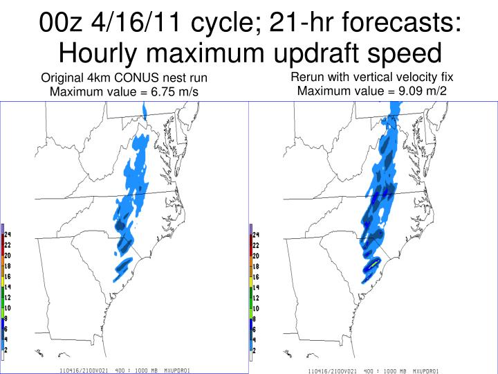 00z 4/16/11 cycle; 21-hr forecasts: Hourly maximum updraft speed