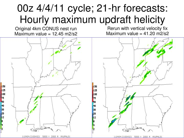 00z 4/4/11 cycle; 21-hr forecasts: Hourly maximum updraft helicity